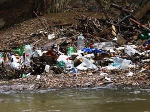 Řeka Kamenice zaplněná plasty.