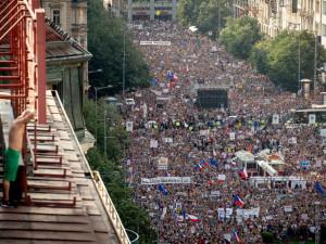 Demonstrace na Václavské náměstí.