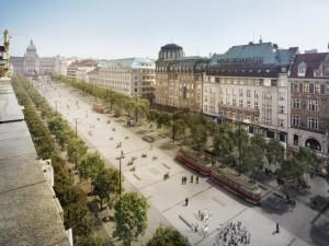 Jak bude vypadat Václavák po rekonstrukci? Vrátí se tramvaje a přibydou stromy.